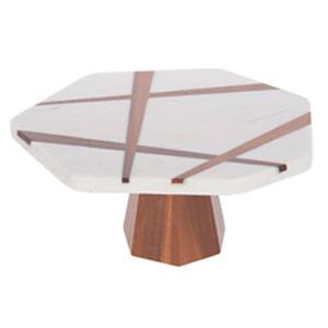 Base Pastelera de marmol blanco con café de 30.5x28.55x13.35cm