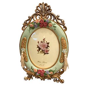 Portarretrato oval diseño grecas de 15x20cm