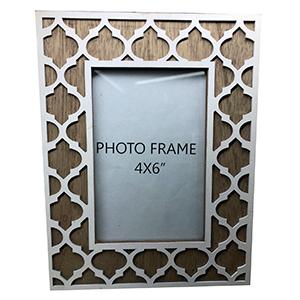 Portarretratos de madera diseño rombos de 10x15cm