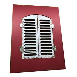 Portarretratos rojo con puertas blancas