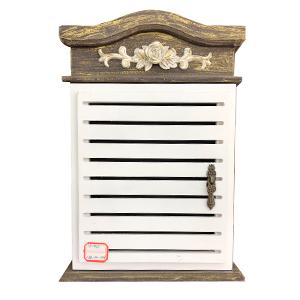 Caja portallaves de madera natural con puerta blanca