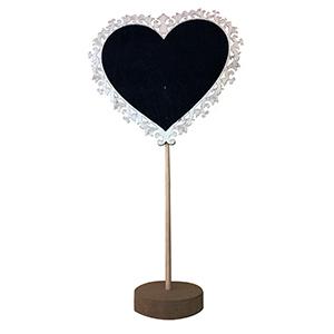 Pizarron diseño corazon con base de madera