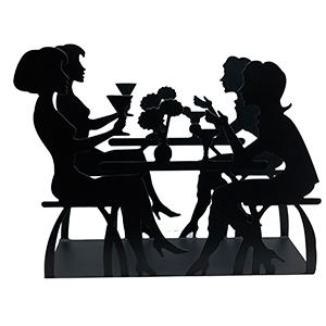 Servilletero negro diseño mujeres tomando café