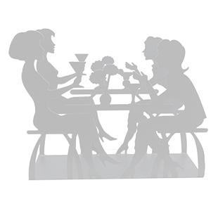 Servilletero blanco diseño mujeres tomando café