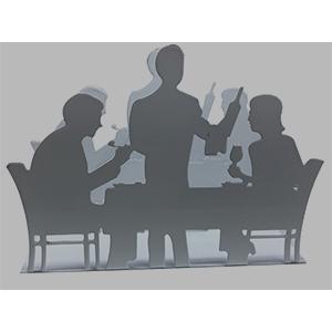 Servilletero negro diseño pareja sentada en mesa