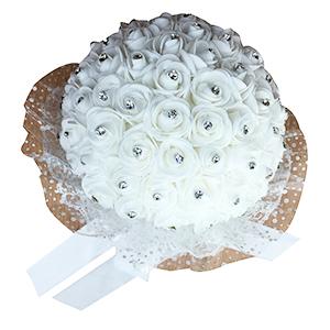 Ramo de rosas blanca con diamantes