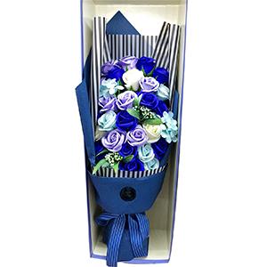 Ramo de rosas azules en estuche