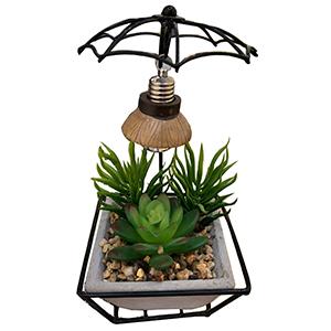 Maceta con planta verde y luz led (usa baterias lithium)