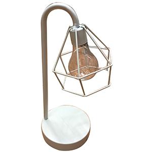 Linterna de metal en base blanca con luz led (usa baterias doble A)