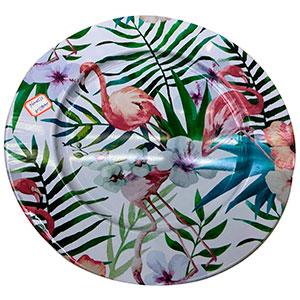 Plato de metal diseño flamingo