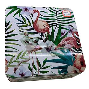 Caja de lamina con tapa diseño flamingo