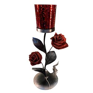 Candelabro de metal diseño flor con vaso de cristal rojo