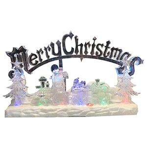 Tren de acrilico musical con luz led y letrero Merry Christmas