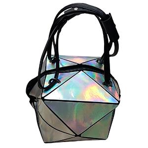 Bolsa para dama diseño cubo plata