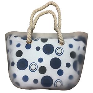 Bolsa de mano transparente ccon circulos azules