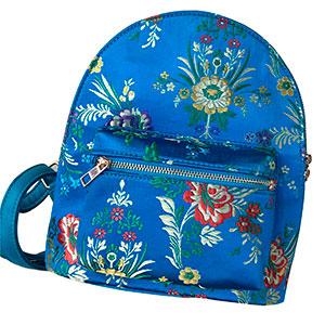 BackPack azul con diseño de flores