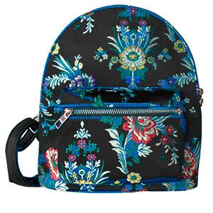 Back Pack negra con diseño de flores