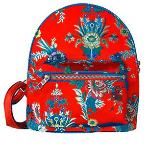 BackPack roja con diseño de flores