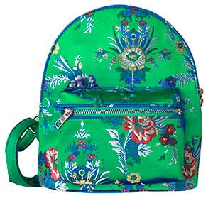 BackPack verde con diseño de flores