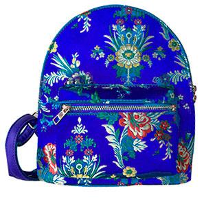 BackPack azul marino con diseño de flores