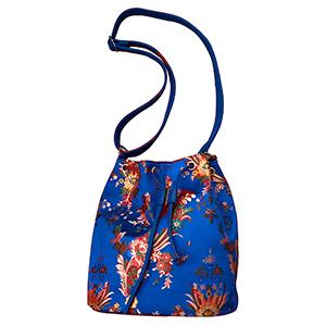 Bolsa tipo mochila azul con flores diseño Oriental