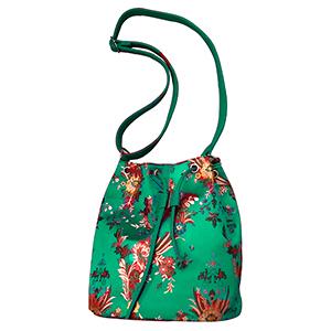 Bolsa tipo mochila verde con flores diseño Oriental