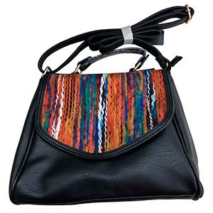 Bolsa de dama negra con tejido a colores