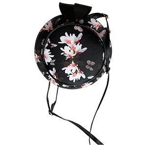 Bolsa diseño sombrero color negro con flores