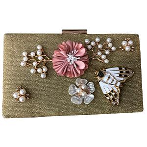 Bolsa de mano doradas con flores y mariposas