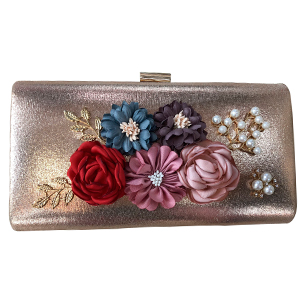 Bolsa de mano dorada con flores de colores