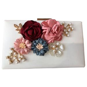 Bolsa de mano blanca con flores de colores