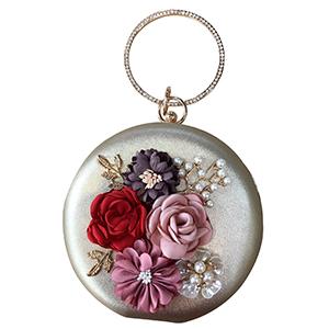 Bolsa de mano redonda con flores de colores