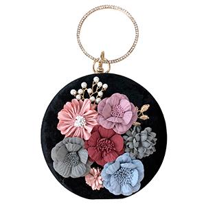 Bolsa de mano redonda negra con flores de colores