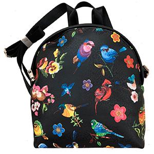 BackPack negra con diseño de aves y flores