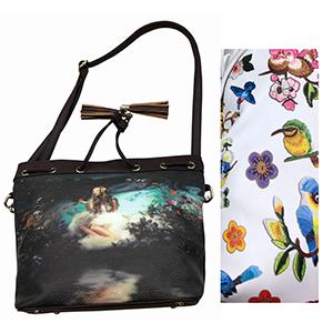 Bolsa de dama blanca con diseño de flores y aves