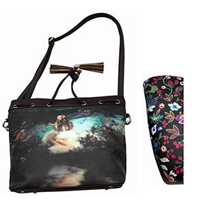 Bolsa de dama negra con diseño de flores