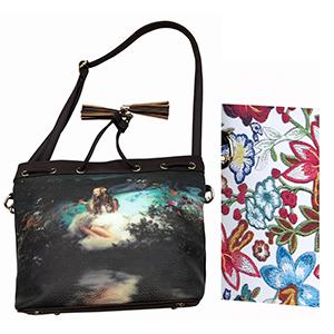Bolsa de dama blanca con diseño de flores