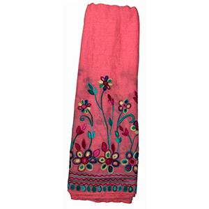 Pashmina rosa con bordado de flores