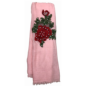 Pashmina rosa con rosa bordada