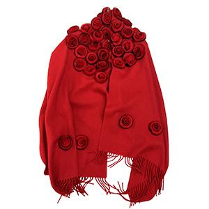 Pashmina roja de acrilan con borlas