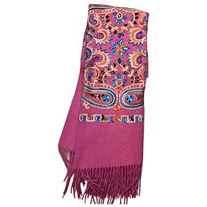 Pashmina rosa con grecas
