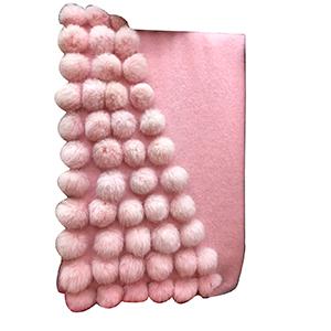 Pashmina rosa de acrilan con bolitas