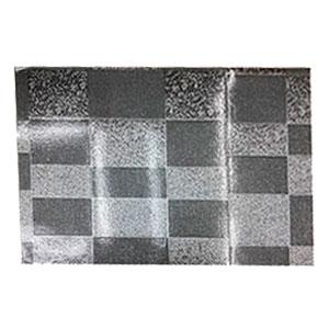 Mantel individual rectangular diseño cuadros plata