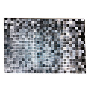 Mantel individual rectangular con cuadritos gris