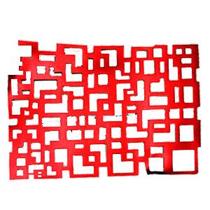 Mantel individual rectangular calado rojo