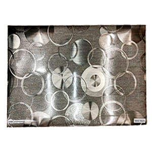 Mantel individual rectangular diseño circulos plata