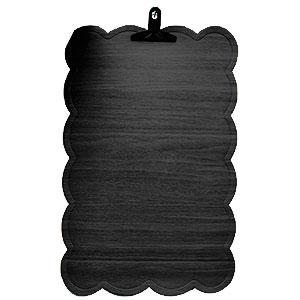 Mantel rectangular diseño ondulado en la orilla tipo madera negro