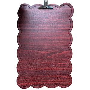 Mantel rectangular diseño ondulado en la orilla tipo madera rojo