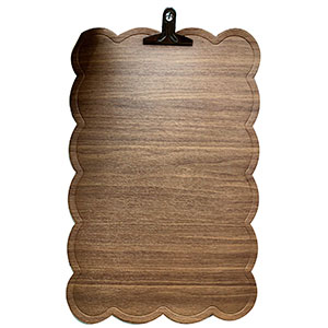 Mantel rectangular diseño ondulado en la orilla tipo madera beige