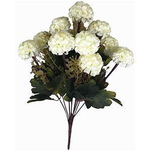 Ramo con flores reondas beige con follaje
